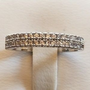 Jewelry - White Sapphire Pave 2 Row 1/2 Eternity band
